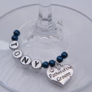 Father Of The Groom Personalised Wine Glass Charm